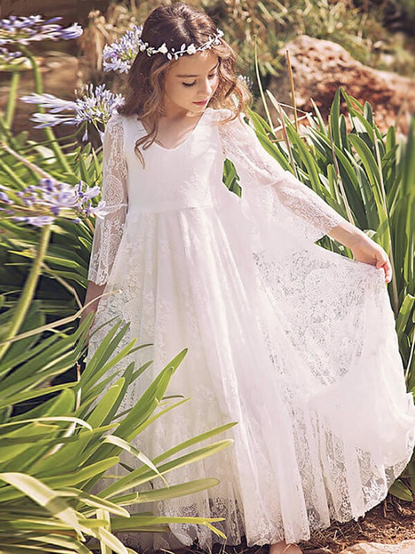 A-Linien-/Princess-Stil Lange Ärmel V-Ausschnitt Bodenlang Blumenmädchenkleid mit Spitze