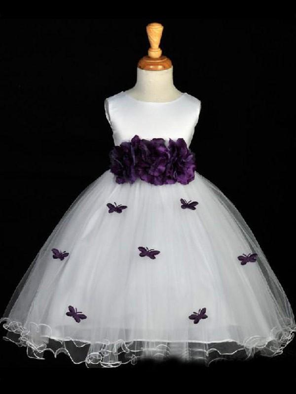 A-Linien-/Princess-Stil U-Ausschnitt Handgemachte Blumen Ärmellos Long Organza Blumenmädchenkleid
