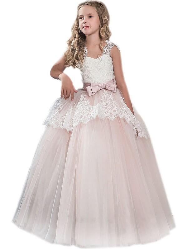 Duchesse-Stil Herzausschnitt Ärmellos Schleifen Bodenlang Tüll Blumenmädchenkleid