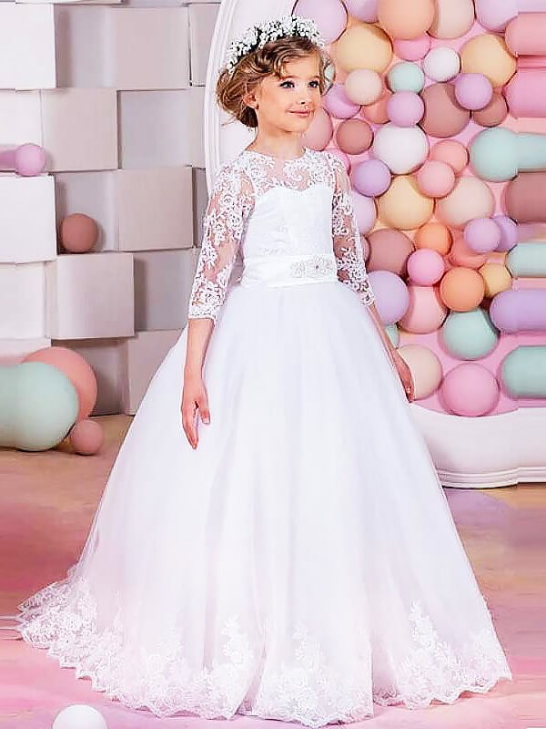 Duchesse-Stil Juwel-Ausschnitt 1/2 Ärmel Bodenlang Tüll Blumenmädchenkleid mit Spitze