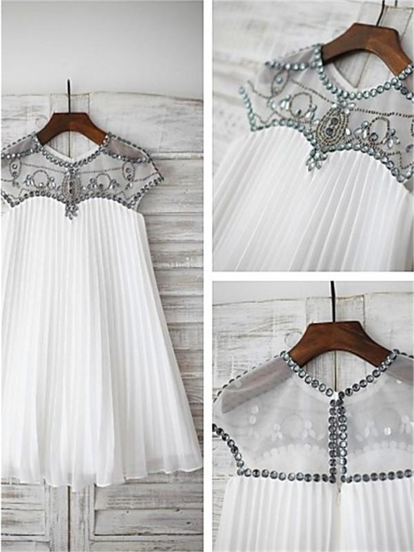 A-Linien-/Princess-Stil U-Ausschnitt Kurze Ärmel Bodenlang Chiffon Blumenmädchenkleid mit Sash Perlenstickereien