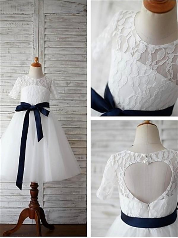 A-Linien-/Princess-Stil U-Ausschnitt 1/2 Ärmel Bodenlang Tüll Blumenmädchenkleid mit Perlenstickereien