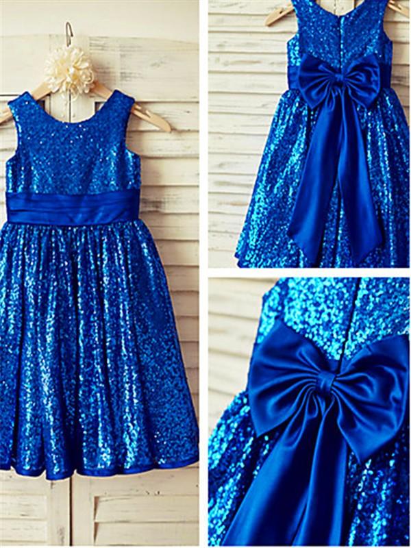 A-Linien-/Princess-Stil U-Ausschnitt Wadenlang Pailletten Blumenmädchenkleid mit Falten Schleifen