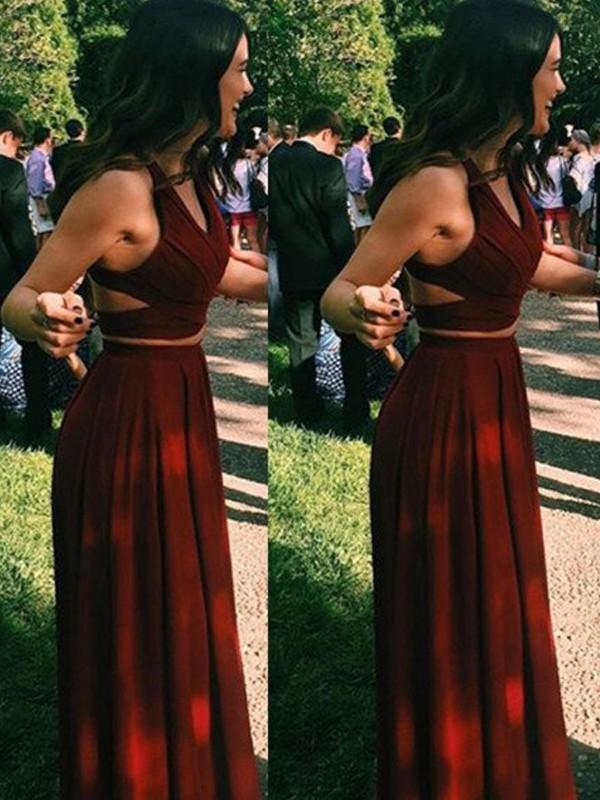 A-Linien-/Princess-Stil Neckholder Bodenlang Chiffon zweiteilige Ballkleid Abendkleid