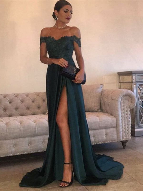 A-Linien-/Princess-Stil Schulterfrei Ärmellos Pinselschleppe Chiffon Spitze Kleid mit Schlitz