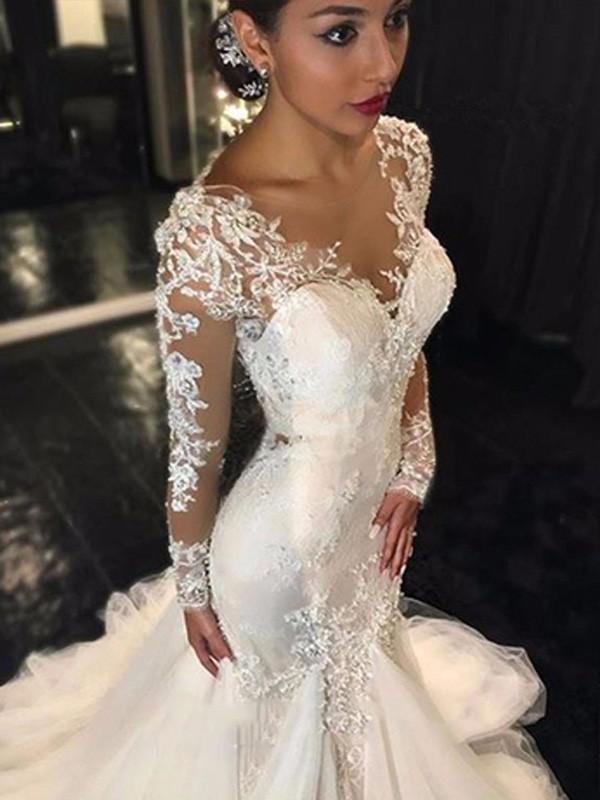 Trompeten-/Meerjungfrauenkleider V-Ausschnitt Lange Ärmel Tüll Hofschleppe Brautkleid mit Spitze