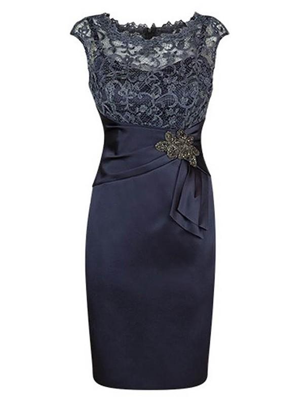 Etui-Linie Juwel-Ausschnitt Kappenhülsen Satin Kurze Brautmutterkleid mit Perlenstickereien Spitze