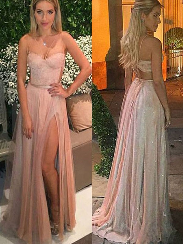 9966119240f A-Linien- Princess-Stil Herzausschnitt Bodenlang Chiffon Abendkleid mit  Spitze Schlitz