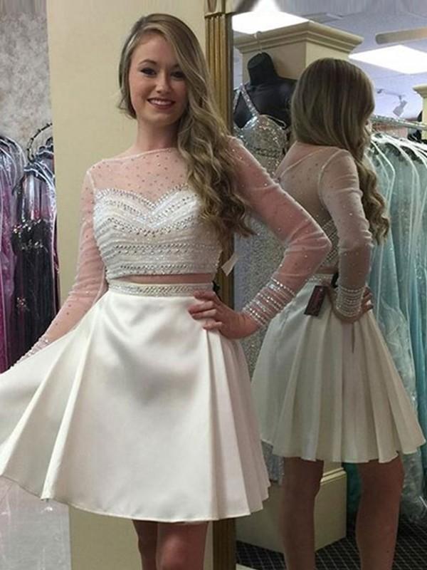 92ea7ec883f050 A-Linien- Princess-Stil Bateau-Ausschnitt Satin Lange Ärmel Kurze Kleid