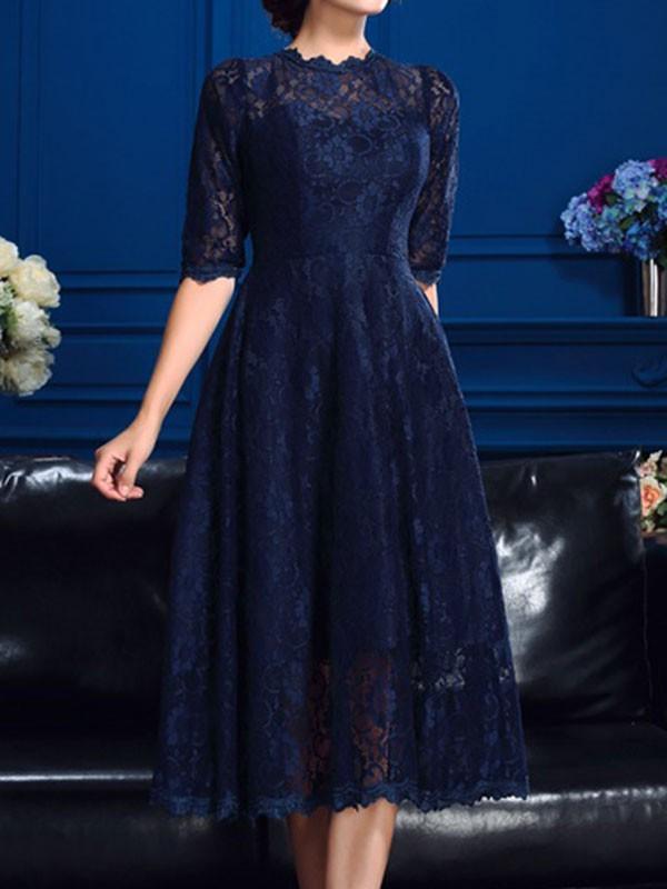 am besten einkaufen UK-Shop zum halben Preis A-Linien-/Princess-Stil Juwel-Ausschnitt Spitze 1/2 Ärmel Knielang  Abendkleid mit Spitze
