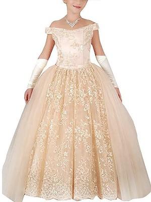 Duchesse-Stil Schulterfrei Ärmellos Applikationen Bodenlang Tüll Blumenmädchenkleid
