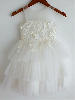 A-Linien-/Princess-Stil Träger Spitze Wadenlang Tüll Blumenmädchenkleid mit Spitze