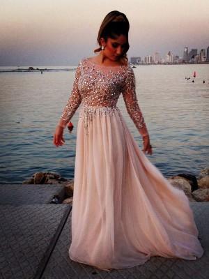 A-Linien-/Princess-Stil Bateau-Ausschnitt Bodenlang Chiffon Abendkleid mit Perlenstickereien