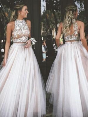 A-Linien-/Princess-Stil Stehkragen Bodenlang Tüll zweiteilige Abendkleid mit Perlenstickereien