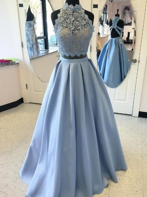 Duchesse-Stil Stehkragen Bodenlang Satin zweiteilige Abendkleid mit Applikationen