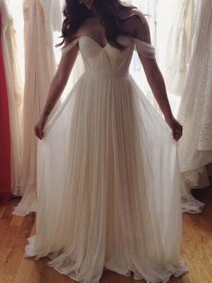 A-Linien-/Princess-Stil Schulterfrei Bodenlang Chiffon Abiballkleid mit Perlenstickereien