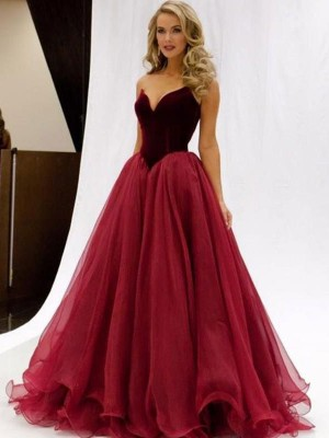 Duchesse-Stil Herzausschnitt Bodenlang Tüll Abendkleid