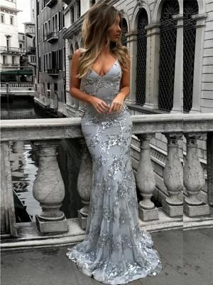 Trompeten-/Meerjungfrauenkleider V-Ausschnitt Ärmellos Bodenlang Tüll Ballkleid mit Pailletten