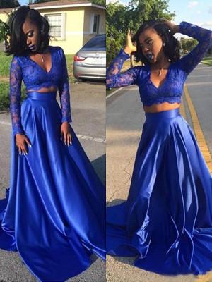 A-Linien-/Princess-Stil V-Ausschnitt Pinselschleppe Satin Lange Ärmel Zwei Stück Kleid mit Spitze