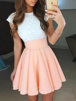 A-Linien-/Princess-Stil Juwel-Ausschnitt Chiffon Ärmellos Kurze Abendkleid mit Spitze