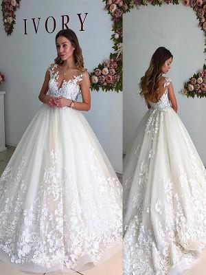 A-Linien-/Princess-Stil V-Ausschnitt Hofschleppe Ärmellos Tüll Brautkleid