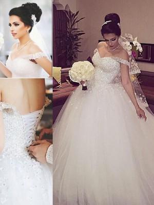 Duchesse-Stil Schulterfrei Hofschleppe Ärmellos Tüll Hochzeitskleid mit Spitze