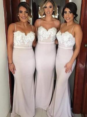 A-Linien-/Princess-Stil Herzausschnitt Satin Bodenlang Ärmellos Brautjungfernkleid mit Spitze