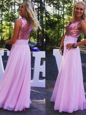 A-Linien-/Princess-Stil V-Ausschnitt Chiffon Bodenlang Ärmellos Brautjungfernkleid mit Paillette