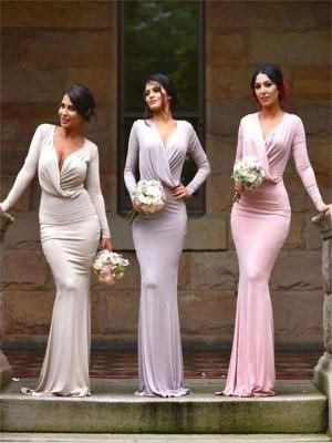 Etui-Linie V-Ausschnitt Jersey Bodenlang Ärmellos Brautjungfernkleid mit Applikationen