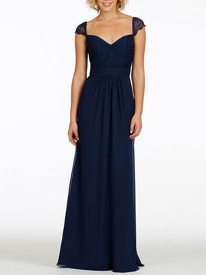A-Linien-/Princess-Stil Herzausschnitt Chiffon Bodenlang Ärmellos Brautjungfernkleid mit Spitze