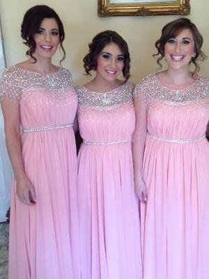 A-Linien-/Princess-Stil U-Ausschnitt Chiffon Bodenlang Ärmellos Brautjungfernkleid mit Perlenstickereien