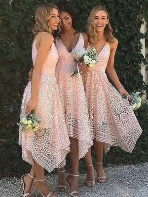 A-Linien-/Princess-Stil V-Ausschnitt Spitze Asymmetrisch Ärmellos Brautjungfernkleid
