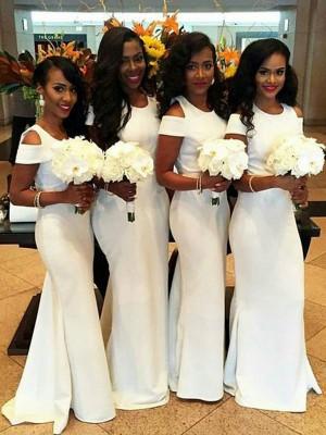 Trompeten-/Meerjungfrauenkleider U-Ausschnitt Satin Bodenlang Kurze Ärmel Brautjungfernkleid