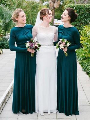A-Linien-/Princess-Stil Herzausschnitt Jersey Bodenlang Lange Ärmel Brautjungfernkleid