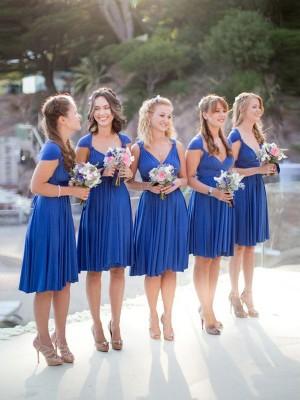 A-Linien-/Princess-Stil V-Ausschnitt Chiffon Kurze Ärmellos Brautjungfernkleid