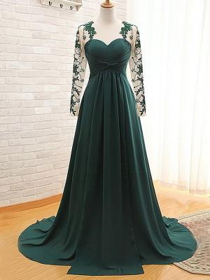A-Linien-/Princess-Stil Juwel-Ausschnitt Lange Ärmel Chiffon Pinselschleppe Brautmutterkleid mit Applikationen