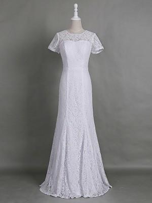 Etui-Linie Juwel-Ausschnitt Kurze Ärmel Spitze Bodenlang Brautmutterkleid mit Spitze