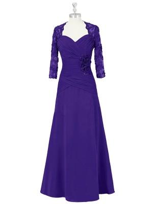 A-Linien-/Princess-Stil Herzausschnitt Halbe Ärmel Chiffon Bodenlang Brautmutterkleid mit Jacket