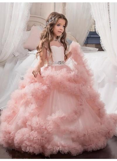 Duchesse-Stil Juwel-Ausschnitt Kurze Ärmel Kristalle Bodenlang Tüll Blumenmädchenkleid