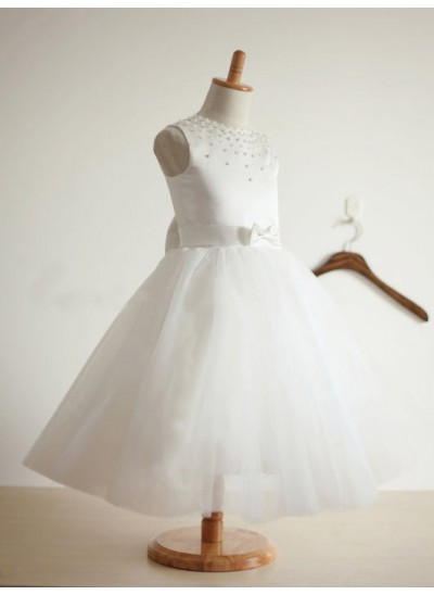 Duchesse-Stil Juwel-Ausschnitt Ärmellos Schleifen Bodenlang Tüll Blumenmädchenkleid