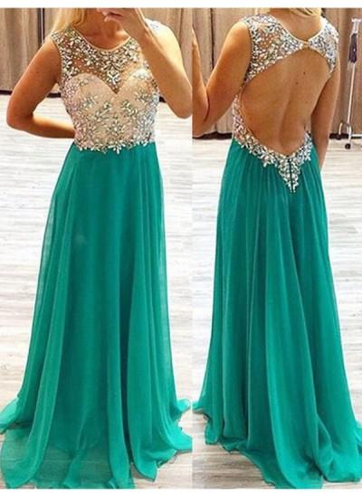 A-Linien-/Princess-Stil Sheer Neck Pinselschleppe Chiffon Abendkleid mit Perlenstickereien