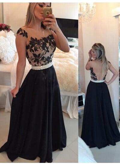 A-Linien-/Princess-Stil Sheer Neck Pinselschleppe Chiffon Abendkleid mit Perlen
