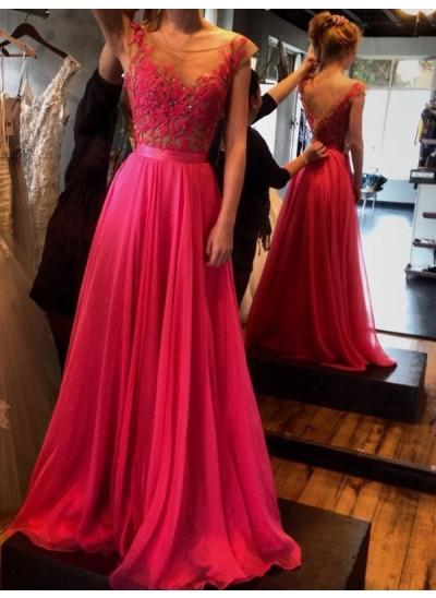 A-Linien-/Princess-Stil U-Ausschnitt Bodenlang Chiffon Abendkleid mit Applikationen