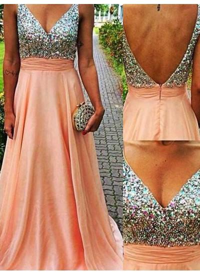 A-Linien-/Princess-Stil V-Ausschnitt Pinselschleppe Chiffon Abendkleid mit Perlenstickereien