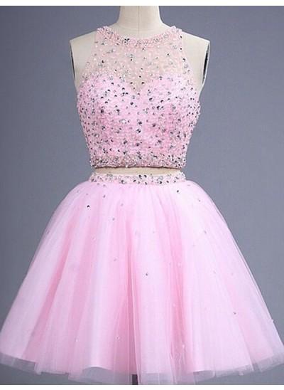 A-Linien-/Princess-Stil U-Ausschnitt Tüll zweiteilige Kurze Abiballkleid mit Perlenstickereien