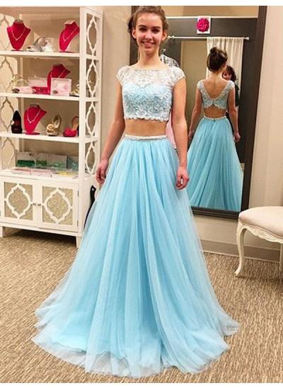 A-Linien-/Princess-Stil U-Ausschnitt Bodenlang Tüll zweiteilige Kleid mit Perlenstickereien