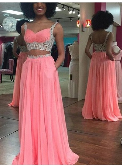 A-Linien-/Princess-Stil Träger Bodenlang Chiffon zweiteilige Kleid mit Spitze