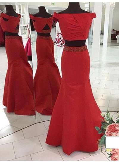 Trompeten-/Meerjungfrauenkleider Schulterfrei Pinselschleppe Satin zweiteilige Kleid mit Rüschen