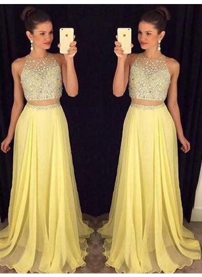 A-Linien-/Princess-Stil U-Ausschnitt Bodenlang Chiffon zweiteilige Abendkleid mit Perlenstickereien