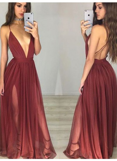A-Linien-/Princess-Stil Spaghetti Träger Bodenlang Chiffon Abendkleid mit Rüschen